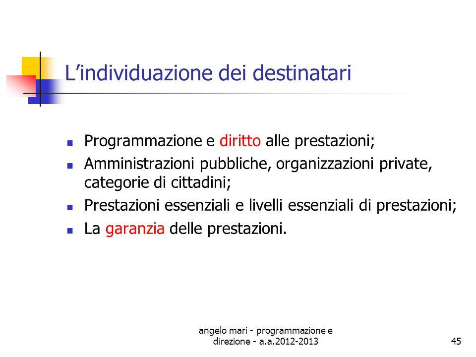 angelo mari - programmazione e direzione - a.a.2012-201345 Lindividuazione dei destinatari Programmazione e diritto alle prestazioni; Amministrazioni