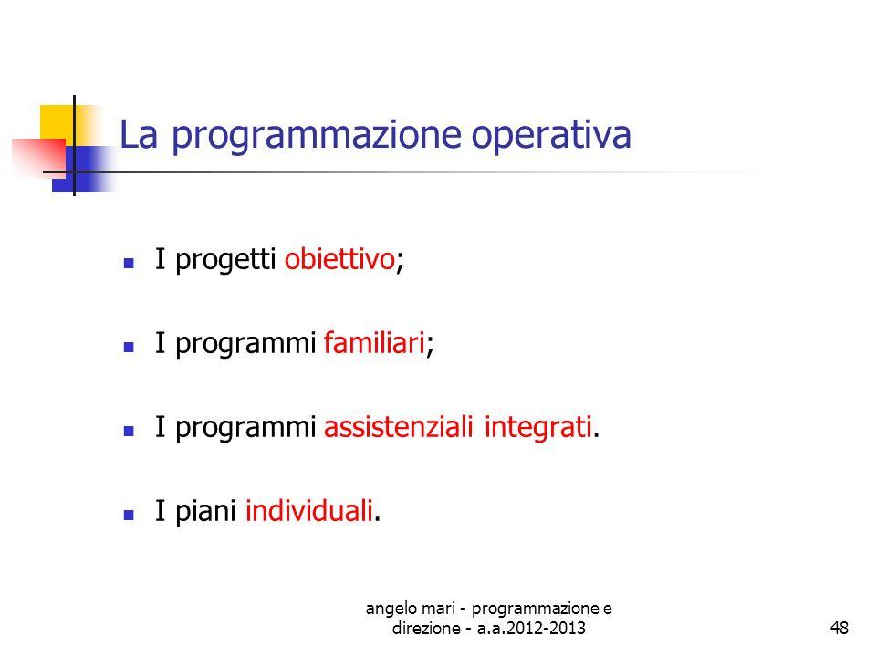 angelo mari - programmazione e direzione - a.a.2012-201348 La programmazione operativa I progetti obiettivo; I programmi familiari; I programmi assist