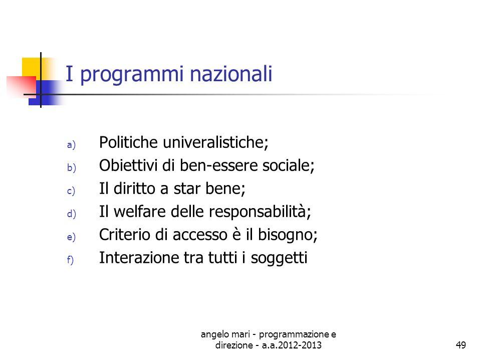 angelo mari - programmazione e direzione - a.a.2012-201349 I programmi nazionali a) Politiche univeralistiche; b) Obiettivi di ben-essere sociale; c)