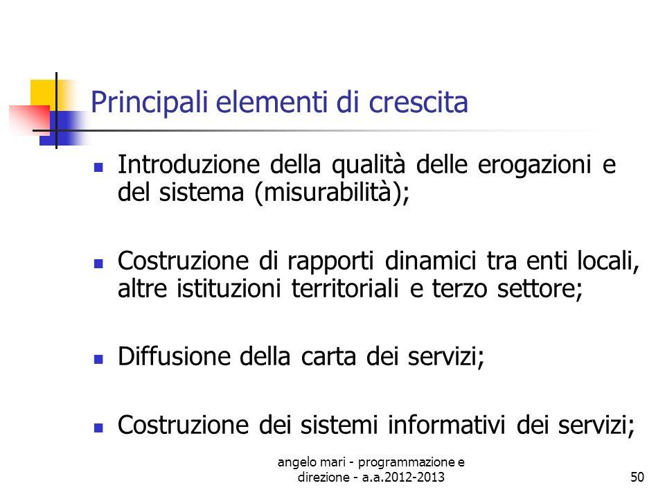 angelo mari - programmazione e direzione - a.a.2012-201350 Principali elementi di crescita Introduzione della qualità delle erogazioni e del sistema (