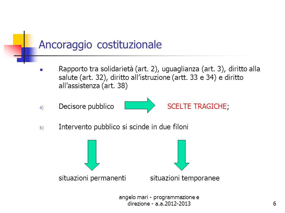 angelo mari - programmazione e direzione - a.a.2012-20136 Ancoraggio costituzionale Rapporto tra solidarietà (art. 2), uguaglianza (art. 3), diritto a