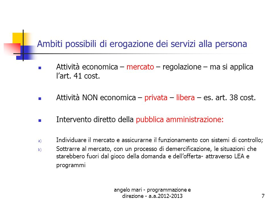 angelo mari - programmazione e direzione - a.a.2012-20137 Ambiti possibili di erogazione dei servizi alla persona Attività economica – mercato – regol