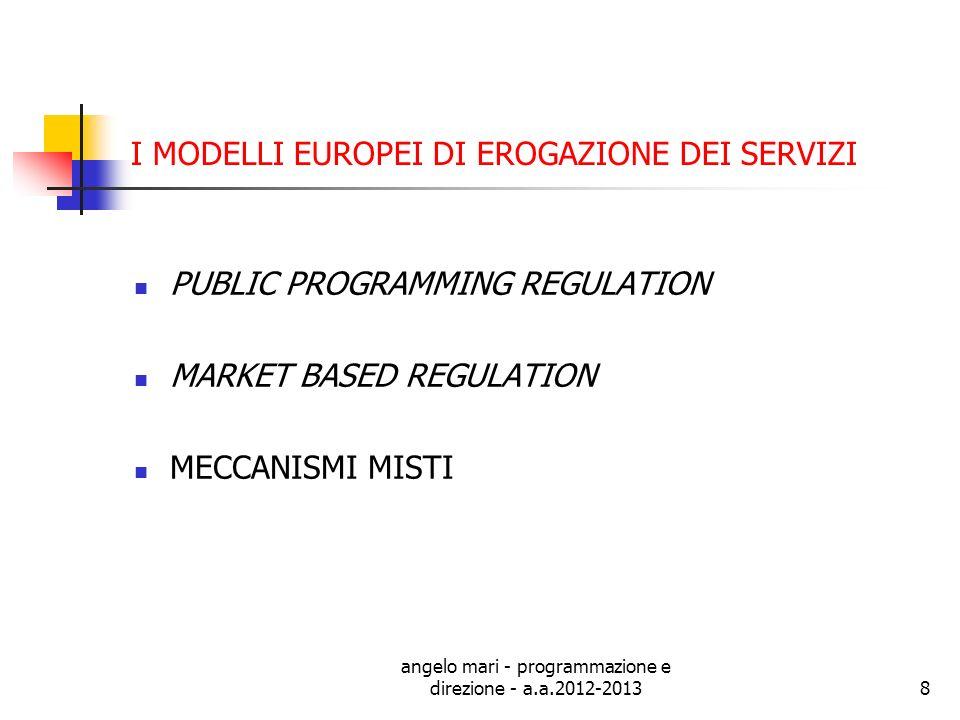 angelo mari - programmazione e direzione - a.a.2012-20138 I MODELLI EUROPEI DI EROGAZIONE DEI SERVIZI PUBLIC PROGRAMMING REGULATION MARKET BASED REGUL