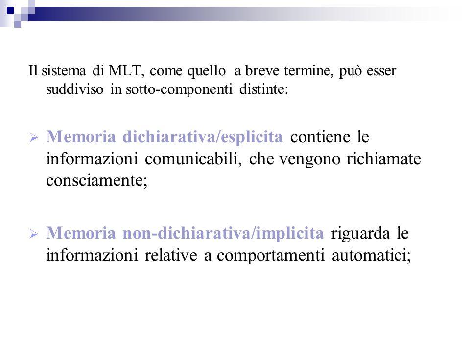 Il sistema di MLT, come quello a breve termine, può esser suddiviso in sotto-componenti distinte: Memoria dichiarativa/esplicita contiene le informazioni comunicabili, che vengono richiamate consciamente; Memoria non-dichiarativa/implicita riguarda le informazioni relative a comportamenti automatici;