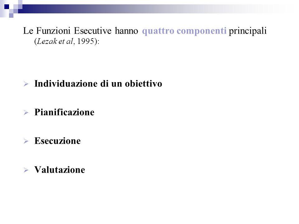 Le Funzioni Esecutive hanno quattro componenti principali (Lezak et al, 1995): Individuazione di un obiettivo Pianificazione Esecuzione Valutazione