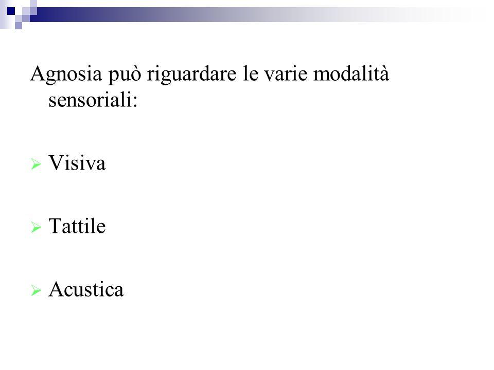 Agnosia può riguardare le varie modalità sensoriali: Visiva Tattile Acustica