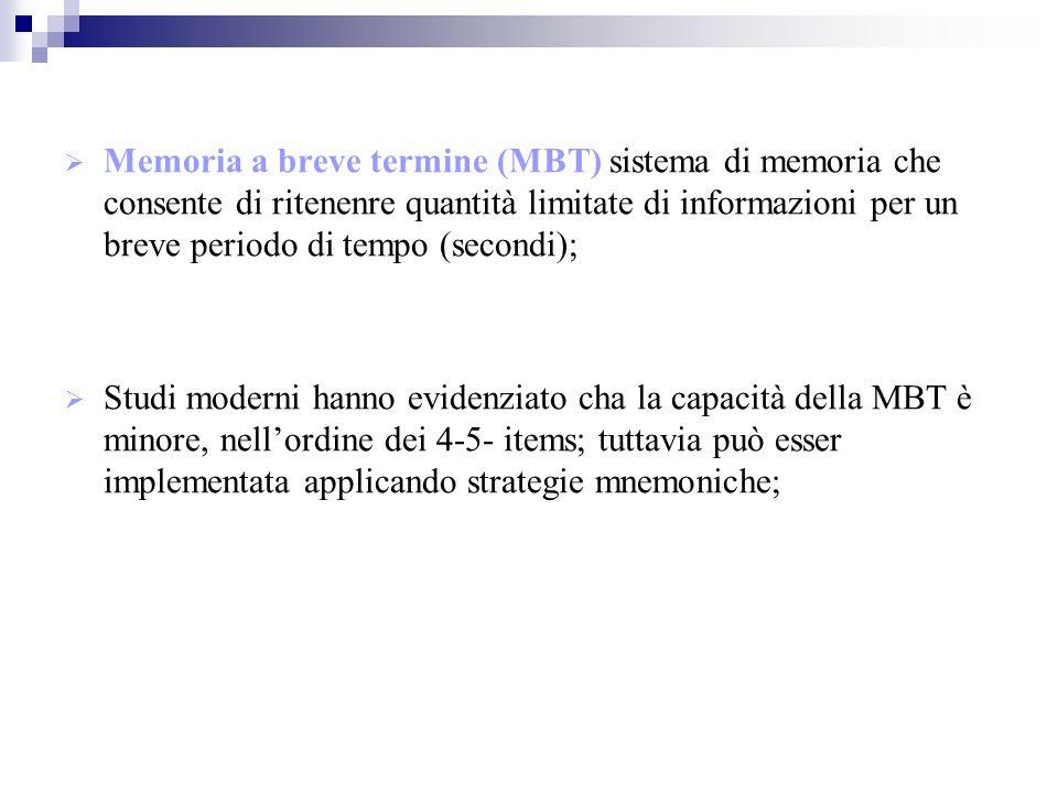 Memoria a breve termine (MBT) sistema di memoria che consente di ritenenre quantità limitate di informazioni per un breve periodo di tempo (secondi); Studi moderni hanno evidenziato cha la capacità della MBT è minore, nellordine dei 4-5- items; tuttavia può esser implementata applicando strategie mnemoniche;