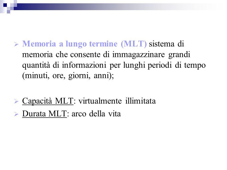 Memoria a lungo termine (MLT) sistema di memoria che consente di immagazzinare grandi quantità di informazioni per lunghi periodi di tempo (minuti, ore, giorni, anni); Capacità MLT: virtualmente illimitata Durata MLT: arco della vita