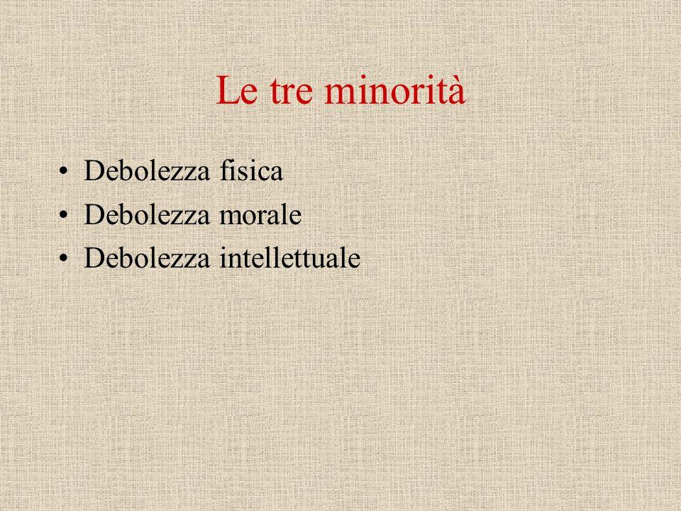 Le tre minorità Debolezza fisica Debolezza morale Debolezza intellettuale
