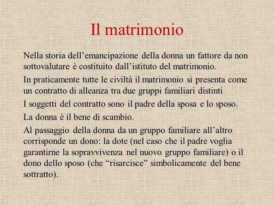 Il matrimonio Nella storia dellemancipazione della donna un fattore da non sottovalutare è costituito dallistituto del matrimonio.