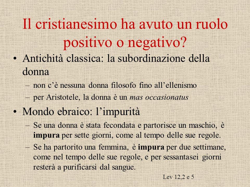 Il cristianesimo ha avuto un ruolo positivo o negativo.