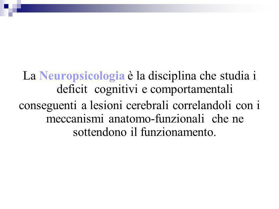La Neuropsicologia è la disciplina che studia i deficit cognitivi e comportamentali conseguenti a lesioni cerebrali correlandoli con i meccanismi anat