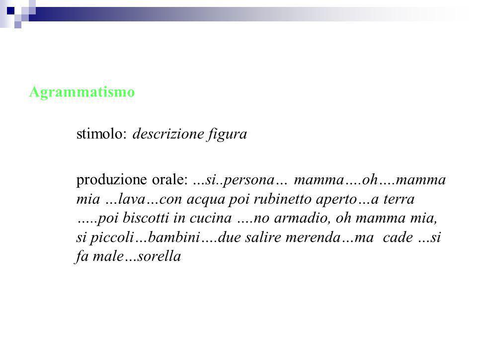 Agrammatismo stimolo: descrizione figura produzione orale: …si..persona… mamma….oh….mamma mia …lava…con acqua poi rubinetto aperto…a terra …..poi bisc