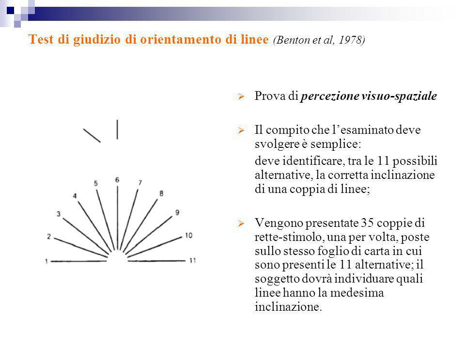 Test di giudizio di orientamento di linee (Benton et al, 1978) Prova di percezione visuo-spaziale Il compito che lesaminato deve svolgere è semplice: