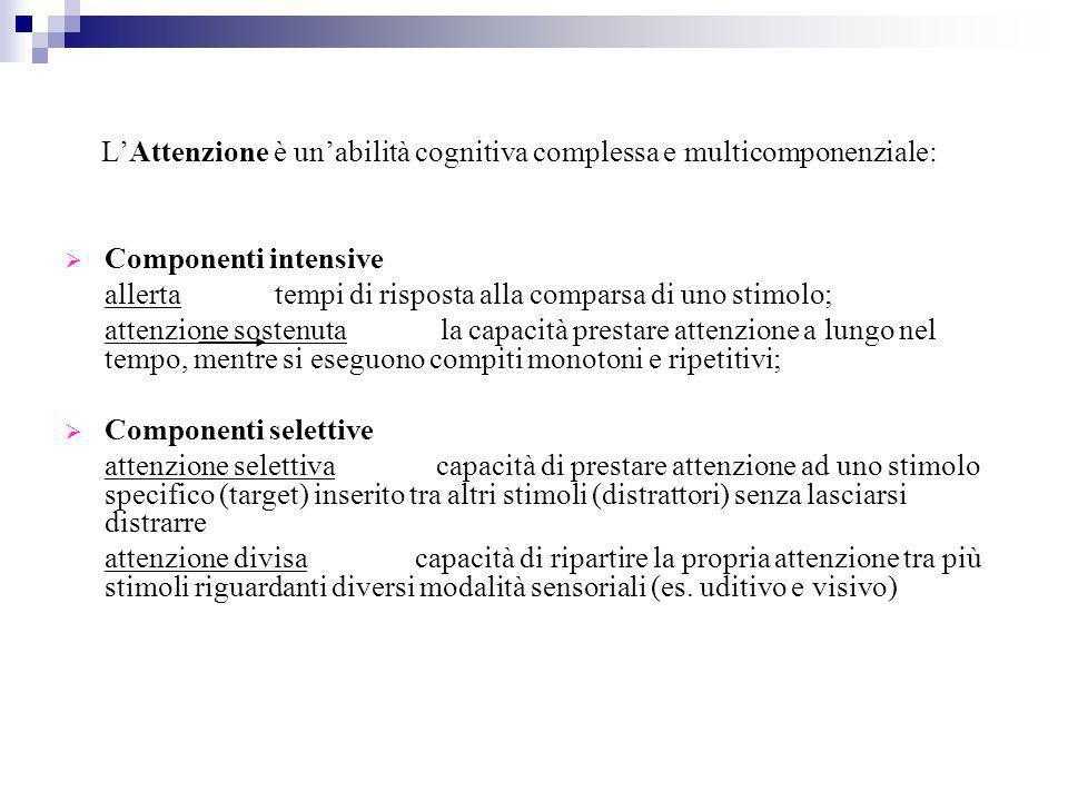 LAttenzione è unabilità cognitiva complessa e multicomponenziale: Componenti intensive allerta tempi di risposta alla comparsa di uno stimolo; attenzi