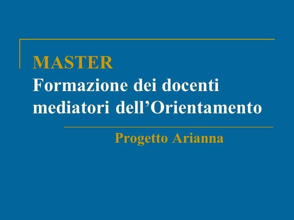 MASTER Formazione dei docenti mediatori dellOrientamento Progetto Arianna