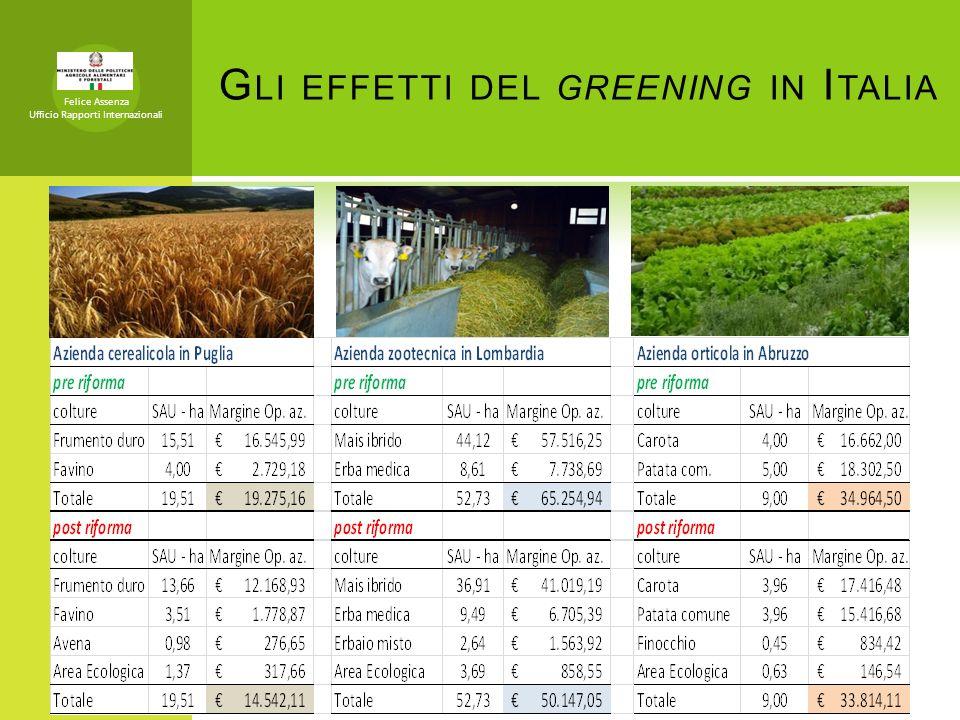 G LI EFFETTI DEL GREENING IN I TALIA Felice Assenza Ufficio Rapporti Internazionali