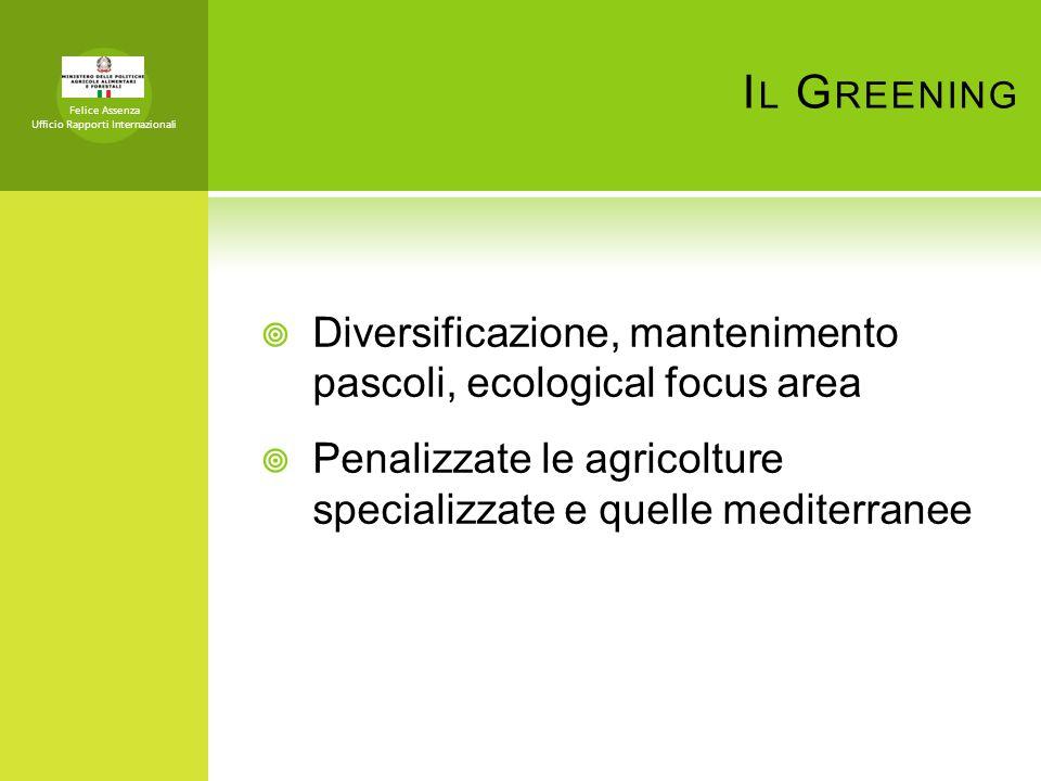 I L G REENING Felice Assenza Ufficio Rapporti Internazionali Diversificazione, mantenimento pascoli, ecological focus area Penalizzate le agricolture