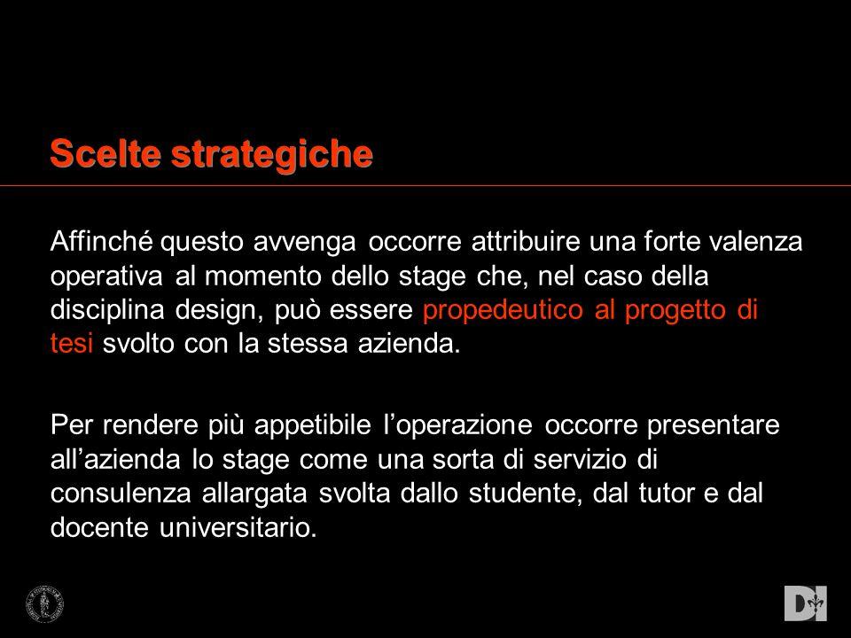 Scelte strategiche Affinché questo avvenga occorre attribuire una forte valenza operativa al momento dello stage che, nel caso della disciplina design
