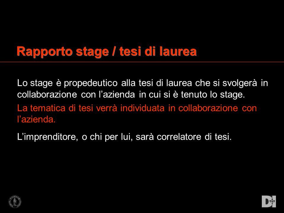 Rapporto stage / tesi di laurea Lo stage è propedeutico alla tesi di laurea che si svolgerà in collaborazione con lazienda in cui si è tenuto lo stage
