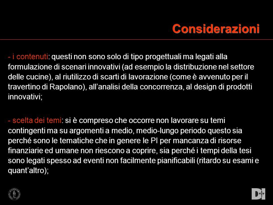 Considerazioni - i contenuti: questi non sono solo di tipo progettuali ma legati alla formulazione di scenari innovativi (ad esempio la distribuzione