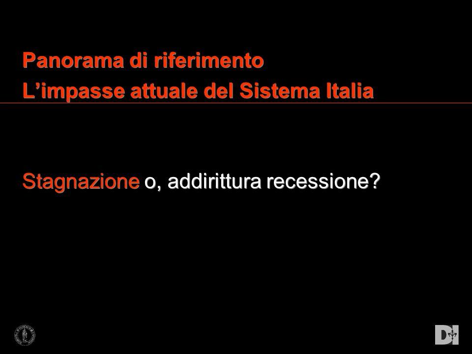 Panorama di riferimento Limpasse attuale del Sistema Italia Stagnazione o, addirittura recessione? Panorama di riferimento Limpasse attuale del Sistem