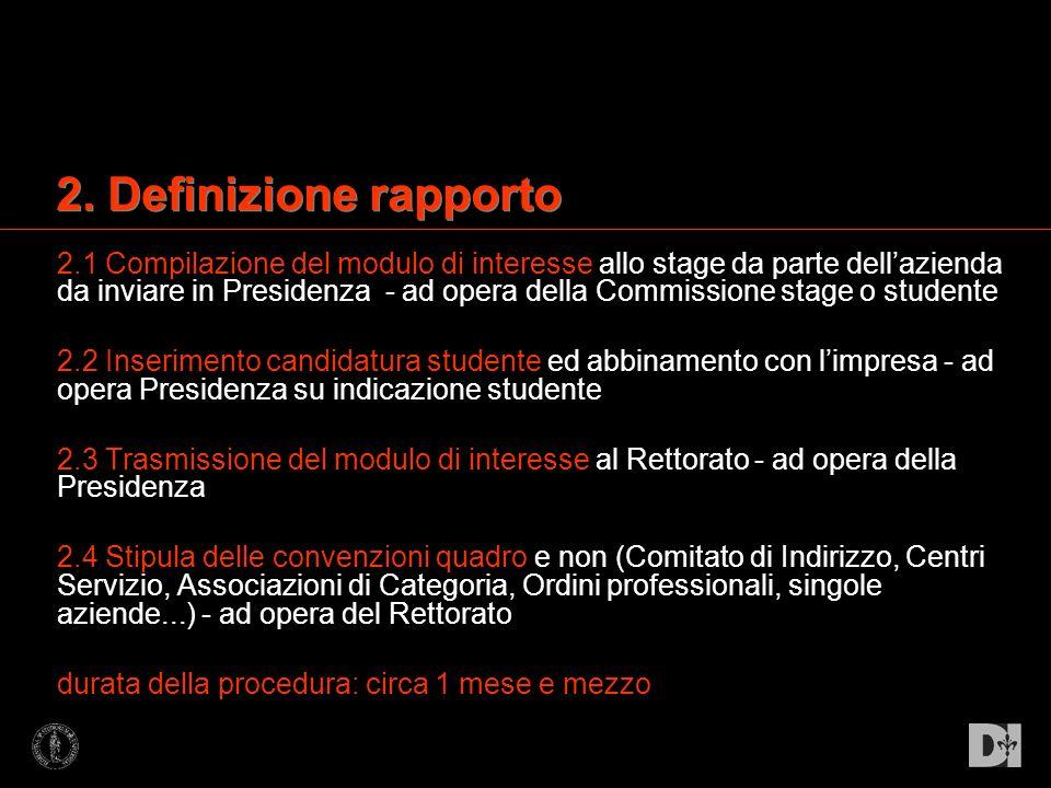 2.1 Compilazione del modulo di interesse allo stage da parte dellazienda da inviare in Presidenza - ad opera della Commissione stage o studente 2.2 In