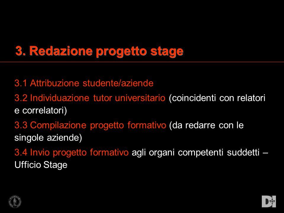 3.1 Attribuzione studente/aziende 3.2 Individuazione tutor universitario (coincidenti con relatori e correlatori) 3.3 Compilazione progetto formativo