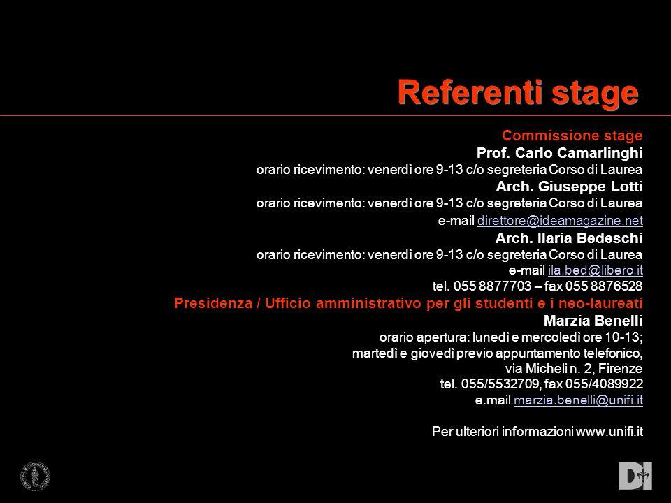 Commissione stage Prof. Carlo Camarlinghi orario ricevimento: venerdì ore 9-13 c/o segreteria Corso di Laurea Arch. Giuseppe Lotti orario ricevimento: