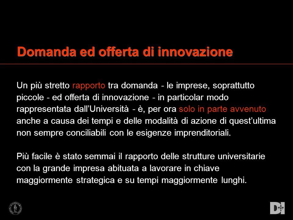 Domanda ed offerta di innovazione Un più stretto rapporto tra domanda - le imprese, soprattutto piccole - ed offerta di innovazione - in particolar mo