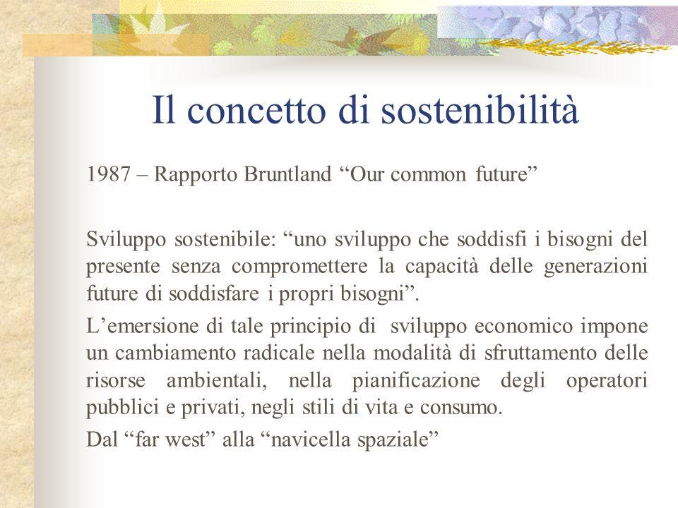 Il concetto di sostenibilità 1987 – Rapporto Bruntland Our common future Sviluppo sostenibile: uno sviluppo che soddisfi i bisogni del presente senza compromettere la capacità delle generazioni future di soddisfare i propri bisogni.