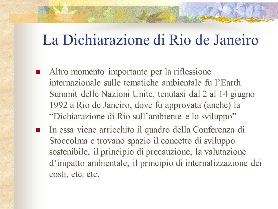 La Dichiarazione di Rio de Janeiro Altro momento importante per la riflessione internazionale sulle tematiche ambientale fu lEarth Summit delle Nazioni Unite, tenutasi dal 2 al 14 giugno 1992 a Rio de Janeiro, dove fu approvata (anche) la Dichiarazione di Rio sullambiente e lo sviluppo In essa viene arricchito il quadro della Conferenza di Stoccolma e trovano spazio il concetto di sviluppo sostenibile, il principio di precauzione, la valutazione dimpatto ambientale, il principio di internalizzazione dei costi, etc.
