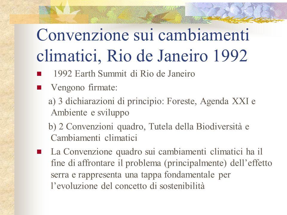 Convenzione sui cambiamenti climatici, Rio de Janeiro 1992 1992 Earth Summit di Rio de Janeiro Vengono firmate: a) 3 dichiarazioni di principio: Foreste, Agenda XXI e Ambiente e sviluppo b) 2 Convenzioni quadro, Tutela della Biodiversità e Cambiamenti climatici La Convenzione quadro sui cambiamenti climatici ha il fine di affrontare il problema (principalmente) delleffetto serra e rappresenta una tappa fondamentale per levoluzione del concetto di sostenibilità