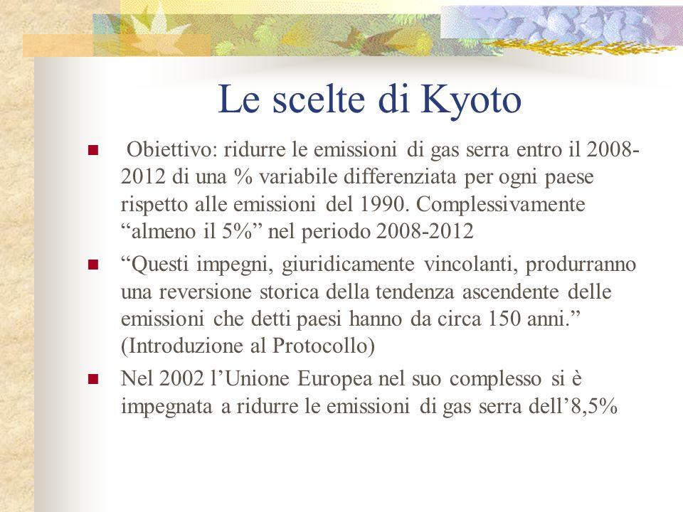 Le scelte di Kyoto Obiettivo: ridurre le emissioni di gas serra entro il 2008- 2012 di una % variabile differenziata per ogni paese rispetto alle emissioni del 1990.