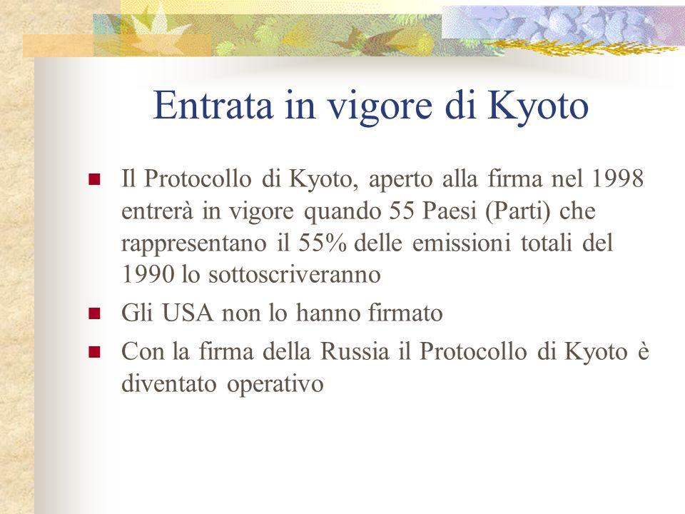 Entrata in vigore di Kyoto Il Protocollo di Kyoto, aperto alla firma nel 1998 entrerà in vigore quando 55 Paesi (Parti) che rappresentano il 55% delle emissioni totali del 1990 lo sottoscriveranno Gli USA non lo hanno firmato Con la firma della Russia il Protocollo di Kyoto è diventato operativo