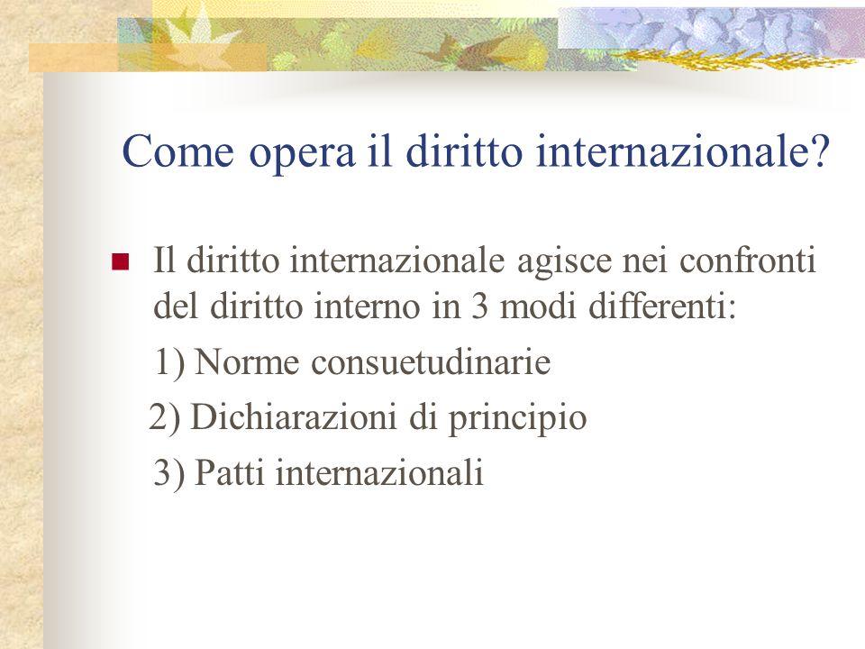 Come opera il diritto internazionale.