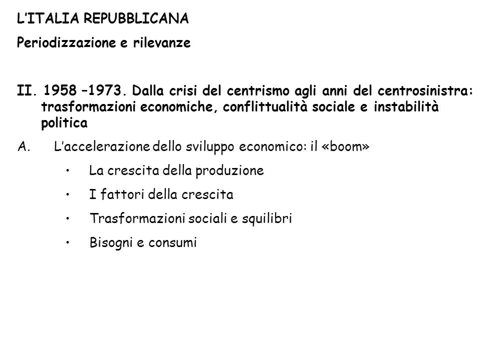 LITALIA REPUBBLICANA Periodizzazione e rilevanze II.