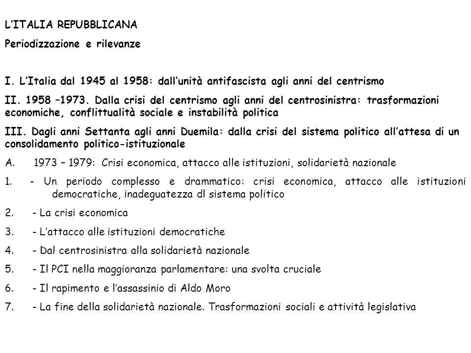 LITALIA REPUBBLICANA Periodizzazione e rilevanze I.