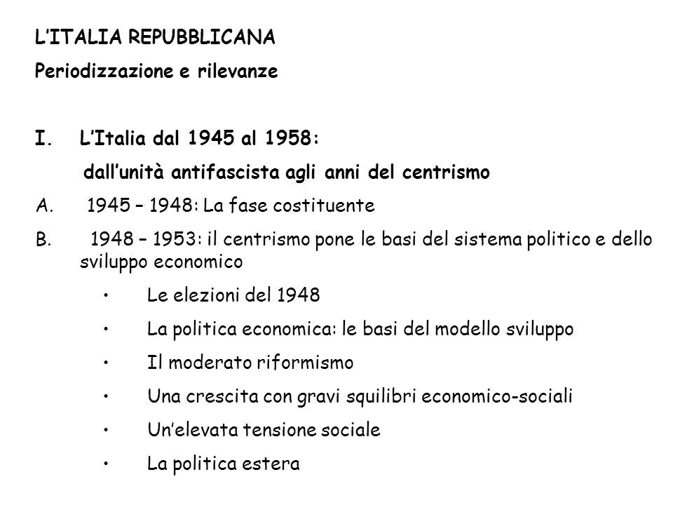 LITALIA REPUBBLICANA Periodizzazione e rilevanze I.LItalia dal 1945 al 1958: dallunità antifascista agli anni del centrismo A.
