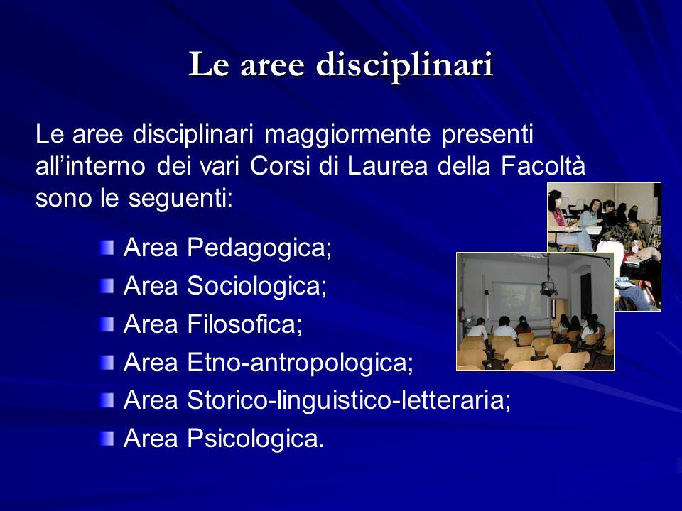 Le aree disciplinari Area Pedagogica; Area Sociologica; Area Filosofica; Area Etno-antropologica; Area Storico-linguistico-letteraria; Area Psicologica.