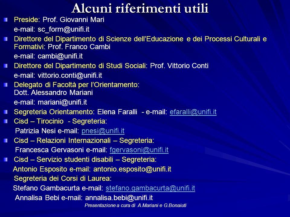 Alcuni riferimenti utili Preside: Prof.