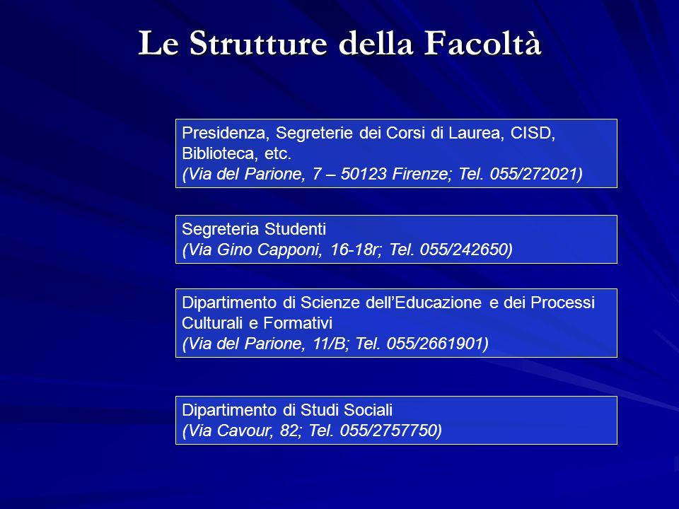 Le Strutture della Facoltà Segreteria Studenti (Via Gino Capponi, 16-18r; Tel.