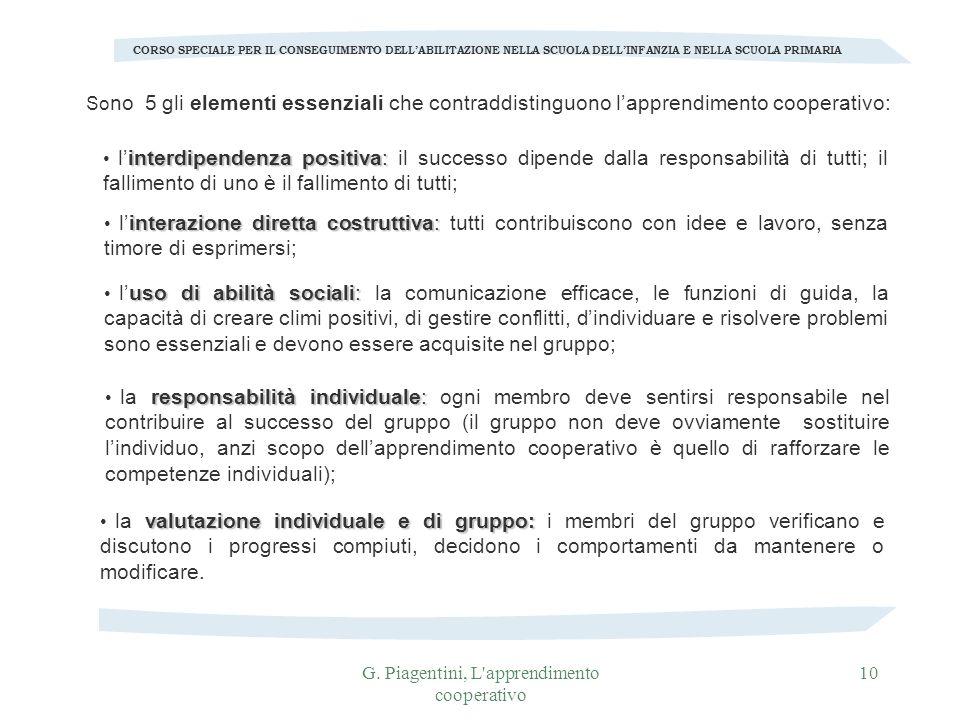 G. Piagentini, L'apprendimento cooperativo 10 So no 5 gli elementi essenziali che contraddistinguono lapprendimento cooperativo: CORSO SPECIALE PER IL