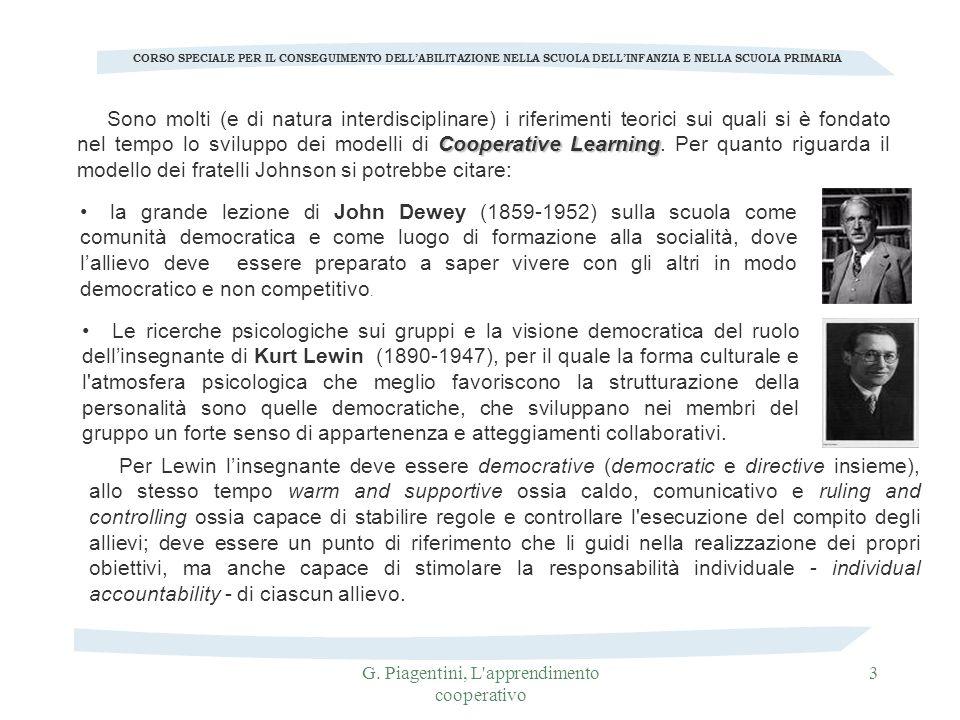 G. Piagentini, L'apprendimento cooperativo 3 Cooperative Learning Sono molti (e di natura interdisciplinare) i riferimenti teorici sui quali si è fond