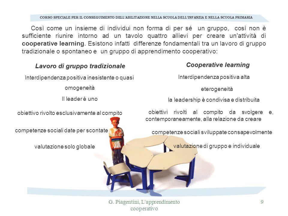 G. Piagentini, L'apprendimento cooperativo 9 Così come un insieme di individui non forma di per sé un gruppo, così non è sufficiente riunire intorno a