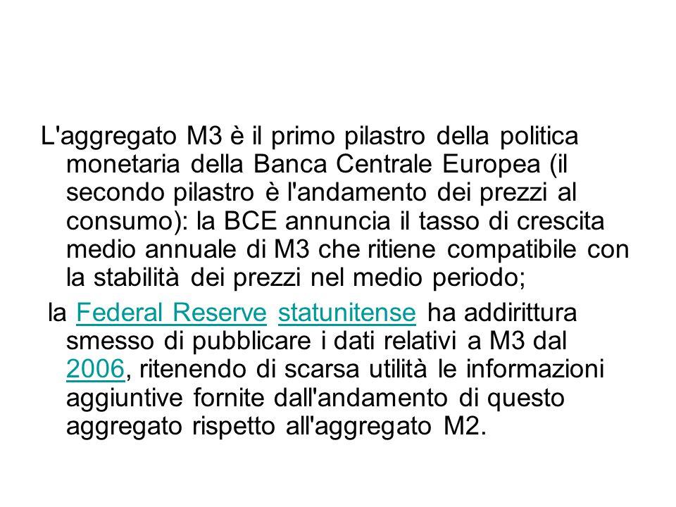 L aggregato M3 è il primo pilastro della politica monetaria della Banca Centrale Europea (il secondo pilastro è l andamento dei prezzi al consumo): la BCE annuncia il tasso di crescita medio annuale di M3 che ritiene compatibile con la stabilità dei prezzi nel medio periodo; la Federal Reserve statunitense ha addirittura smesso di pubblicare i dati relativi a M3 dal 2006, ritenendo di scarsa utilità le informazioni aggiuntive fornite dall andamento di questo aggregato rispetto all aggregato M2.Federal Reservestatunitense 2006