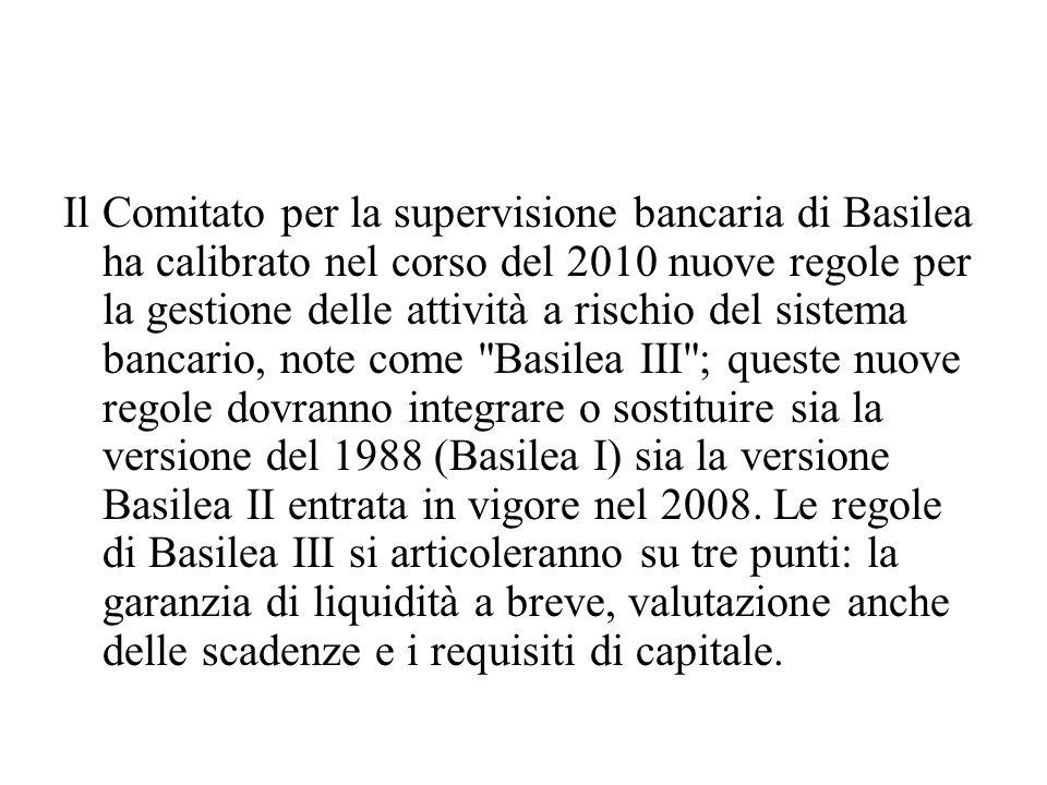 Il Comitato per la supervisione bancaria di Basilea ha calibrato nel corso del 2010 nuove regole per la gestione delle attività a rischio del sistema