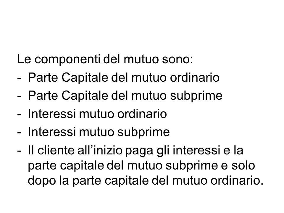 Le componenti del mutuo sono: -Parte Capitale del mutuo ordinario -Parte Capitale del mutuo subprime -Interessi mutuo ordinario -Interessi mutuo subprime -Il cliente allinizio paga gli interessi e la parte capitale del mutuo subprime e solo dopo la parte capitale del mutuo ordinario.