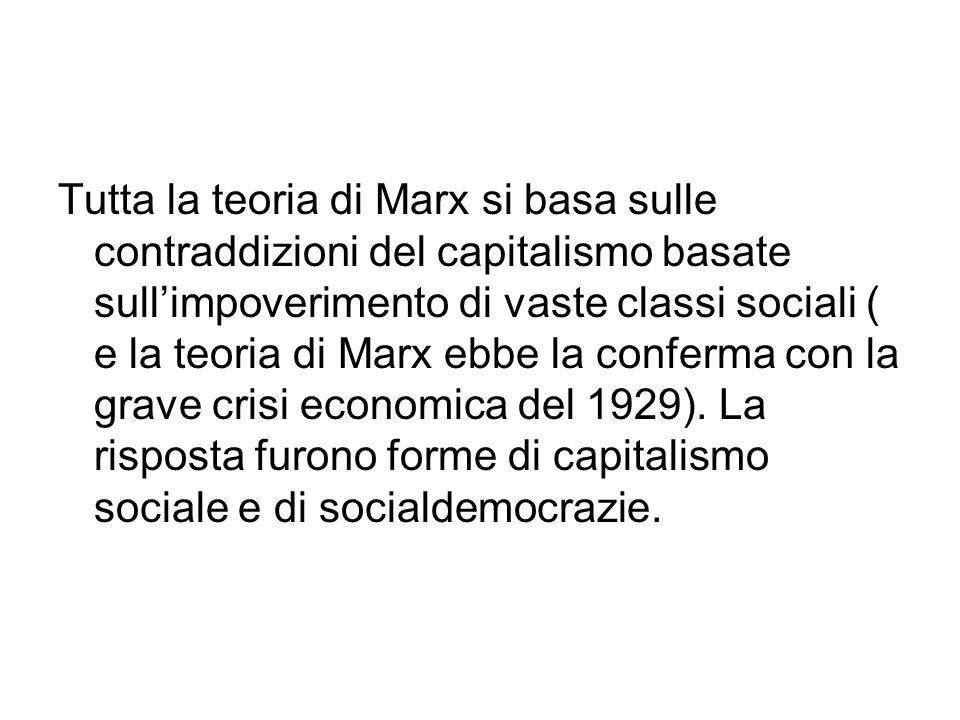 Tutta la teoria di Marx si basa sulle contraddizioni del capitalismo basate sullimpoverimento di vaste classi sociali ( e la teoria di Marx ebbe la conferma con la grave crisi economica del 1929).
