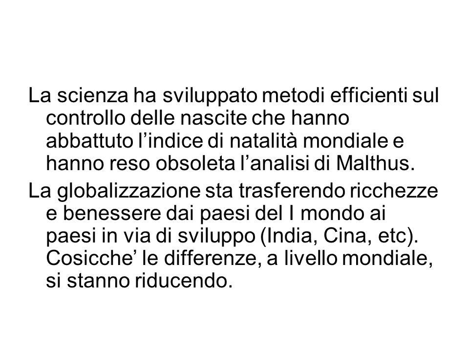 La scienza ha sviluppato metodi efficienti sul controllo delle nascite che hanno abbattuto lindice di natalità mondiale e hanno reso obsoleta lanalisi di Malthus.